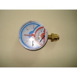 """Kombinált hő-nyomásmérő radiál M1/2"""" 0-4bar d:80mm"""