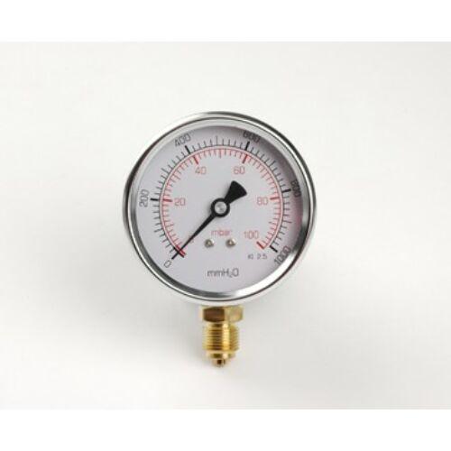 """Gáznyomásmérő radiál M3/8"""" 0-60mbar d:80mm"""